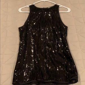 NWT Banana Republic black sequin top Size 2